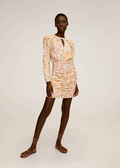 Платье со сборками и цветочным принтом - Fruncis-i