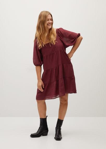 Полупрозрачное платье в крапинку с воланами - Nieve