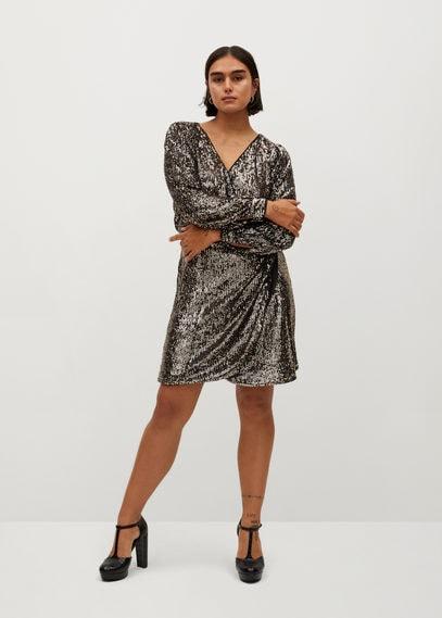 Платье с запахом и пайетками - Ava