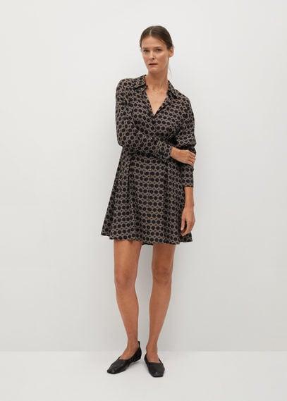 Отрезное ниже талии платье с принтом - Cosmo