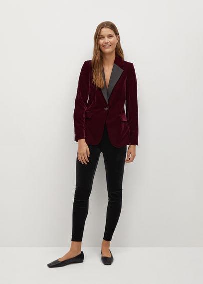 Бархатный пиджак с контрастными лацканами - Combi