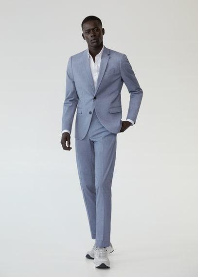 Костюмные брюки super slim fit с мелкой фактурной выделкой - Paulo