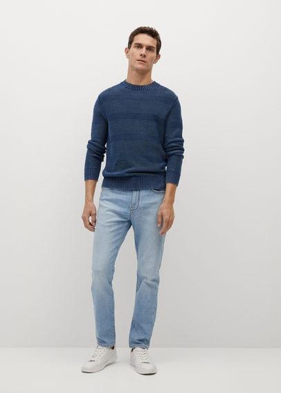 Хлопковый джемпер в рельефную полоску - Jeans