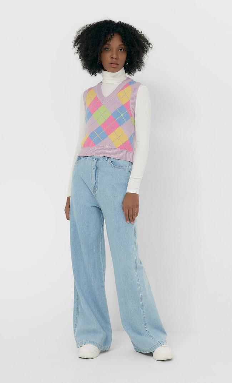 Жилет С V-Образным Вырезом И Узором «Ромбы» Женская Коллекция Multicolor S