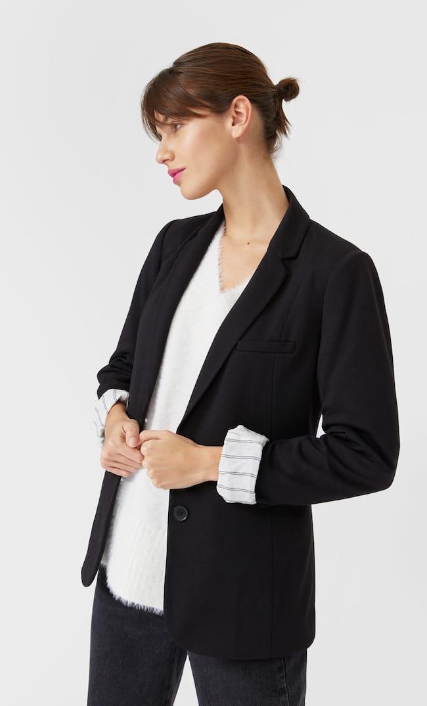 Базовый Трикотажный Пиджак Женская Коллекция Черный Xs