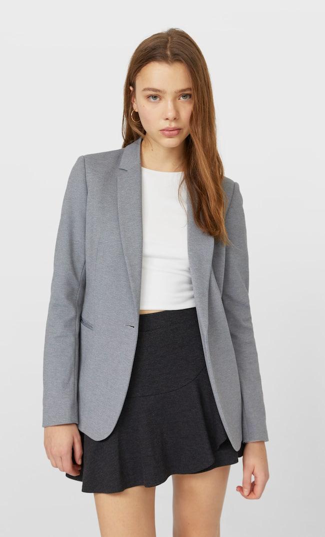Базовый Трикотажный Пиджак Женская Коллекция Пестро-Серый M