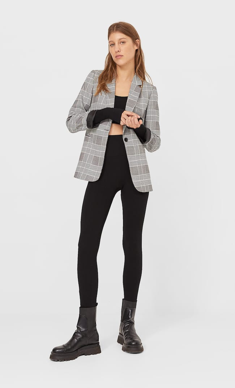 Базовый Трикотажный Пиджак Женская Коллекция Темно-Серый S