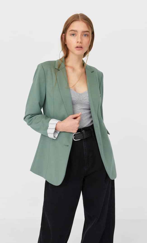 Базовый Трикотажный Пиджак Женская Коллекция Пастельно-Зеленый S