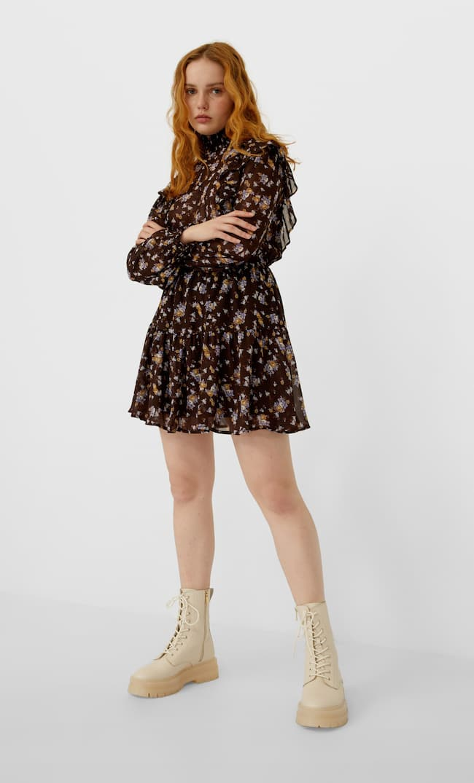 Платье С Цветочным Принтом И Воланами Женская Коллекция Коричневый L