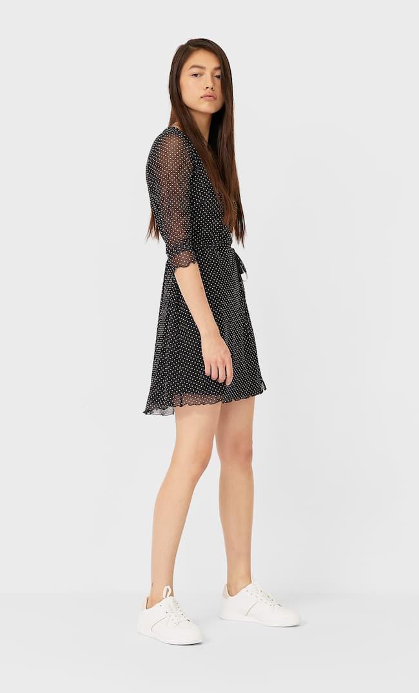 Платье Из Прозрачной Ткани На Запáхе Женская Коллекция Черный S