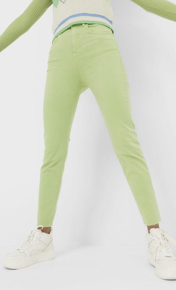 Цветные Джинсы С Высокой Посадкой Женская Коллекция Аквамарин 36