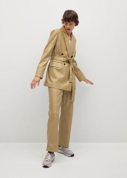 Пиджак из искусственной кожи с поясом - Mac