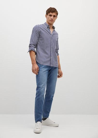 Хлопковая рубашка slim fit в полоску - Koda