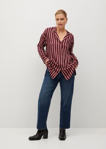 Полосатая рубашка с лацканами - Rallon8