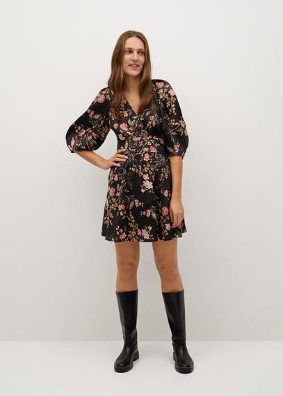 Струящееся платье с цветочным принтом - Honey