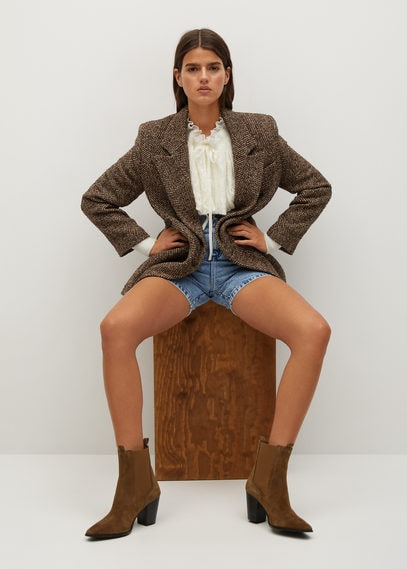 Кожаные ботинки на каблуке - Lana