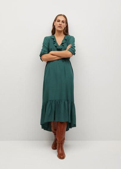 Струящееся платье с воланами - Noir
