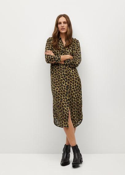 Платье-рубашка с леопардовым принтом - Fox-i