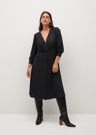 Платье с драпированной горловиной - Calado