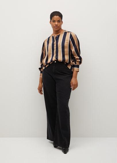 Атласная блузка с принтом - Stripy8