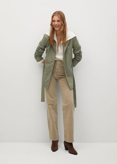 Пиджак из искусственной кожи с поясом - Olivia