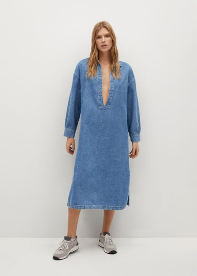 Джинсовое платье с V-образной горловиной - Tunic-i