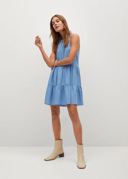 Джинсовое платье с воланами - Oka-h