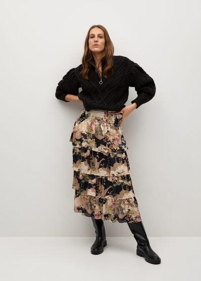 Принтованная юбка с воланами - Mulan