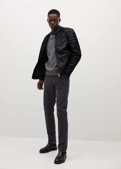 Байкерская куртка из наппы черного цвета - Apollo7
