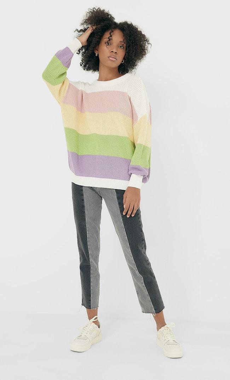 Свитер Оверсайз С Цветовыми Блоками Женская Коллекция Цвет Небеленого Полотна Xl