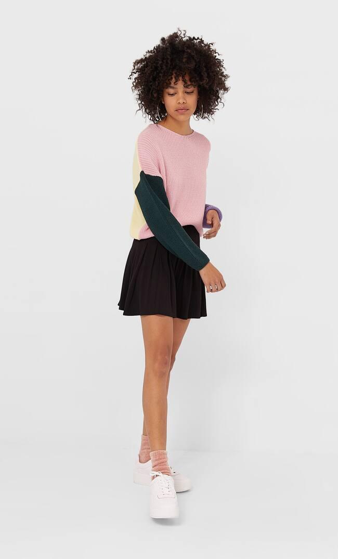Укороченный Свитер С Цветовыми Блоками Женская Коллекция Цвет Небеленого Полотна S