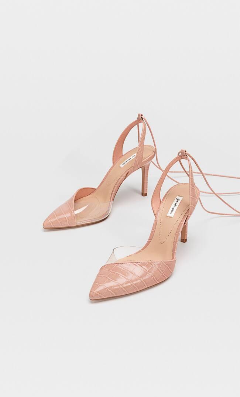 Туфли На Каблуке, С Деталями Из Винила И Завязками Женская Коллекция Розовый 37