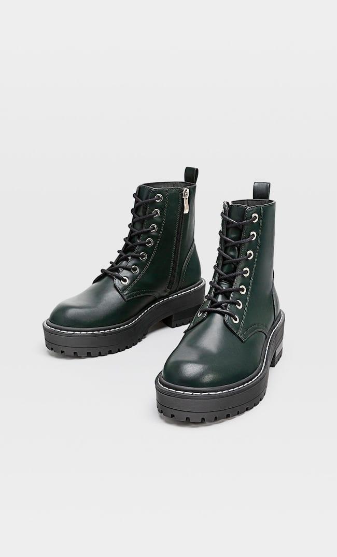 Зеленые Ботинки С Двумя Парами Шнурков Женская Коллекция Зеленый 38