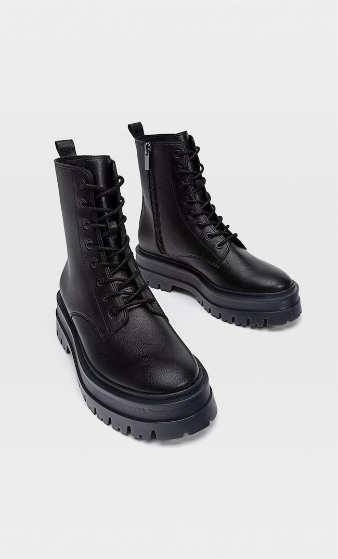 Ботинки На Низком Каблуке С Двойной Шнуровкой Женская Коллекция Черный 39