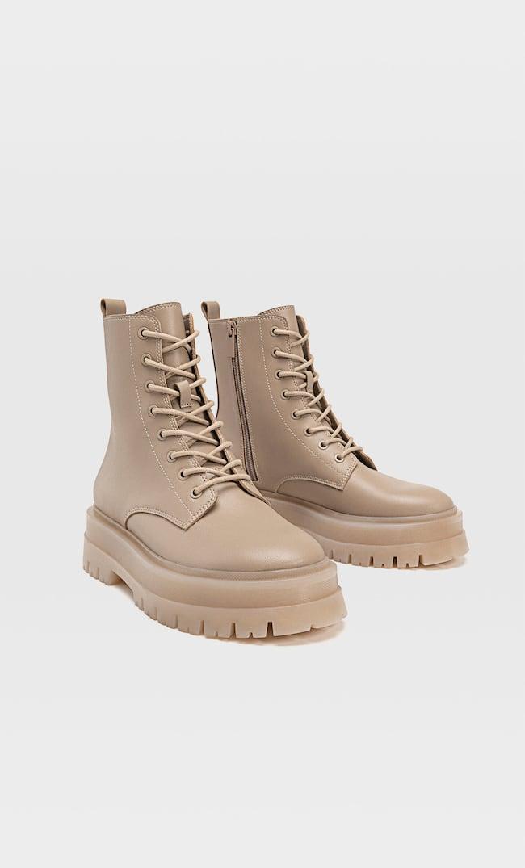 Ботинки На Низком Каблуке С Двойной Шнуровкой Женская Коллекция Бежевый 38