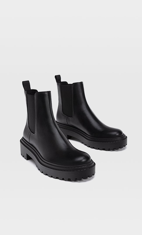 Ботинки На Плоской Рифленой Подошве Женская Коллекция Черный 37