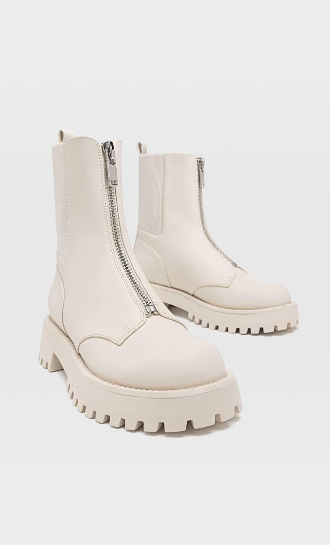 Высокие Ботинки С Молнией Впереди Женская Коллекция Розовато-Бежевый 36