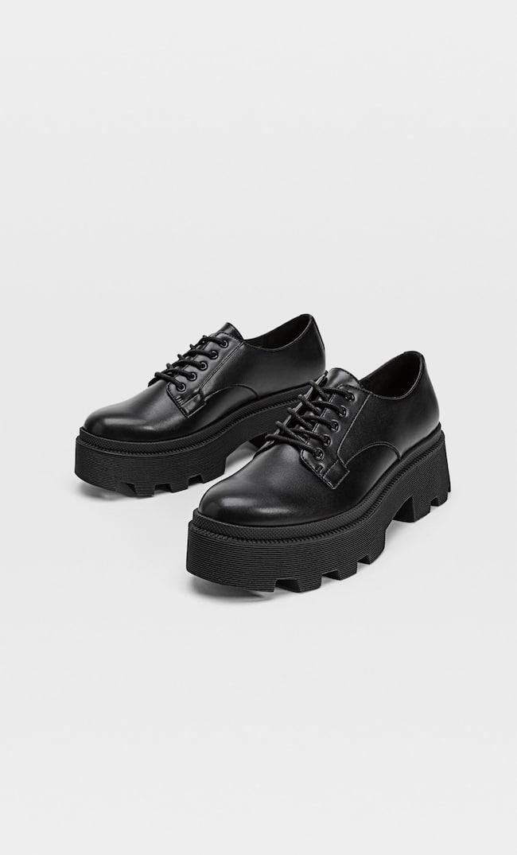 Туфли Со Шнуровкой И На Рифленой Подошве Женская Коллекция Черный 41