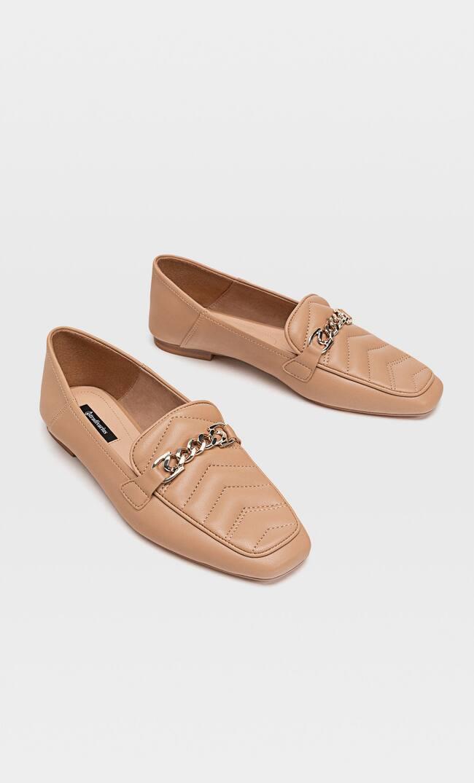 Стеганые Туфли На Плоской Подошве С Деталью На Пятке Женская Коллекция Бежевый 37