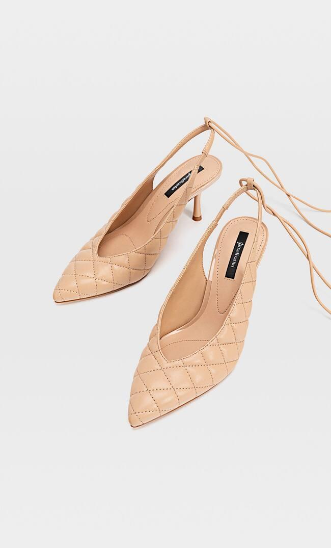Стеганые Туфли На Каблуке Женская Коллекция Бежевый 40