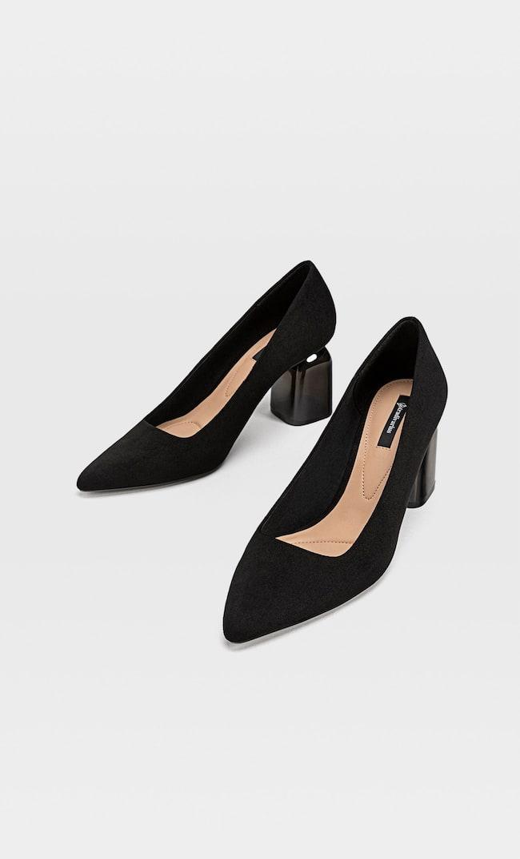 Туфли На Каблуке Из Метакрилата Женская Коллекция Черный 35