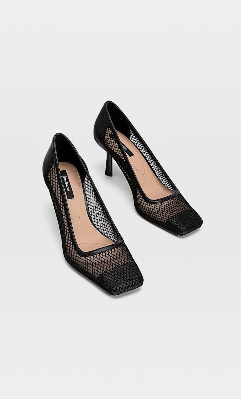 Сетчатые Туфли На Каблуке Женская Коллекция Черный 40