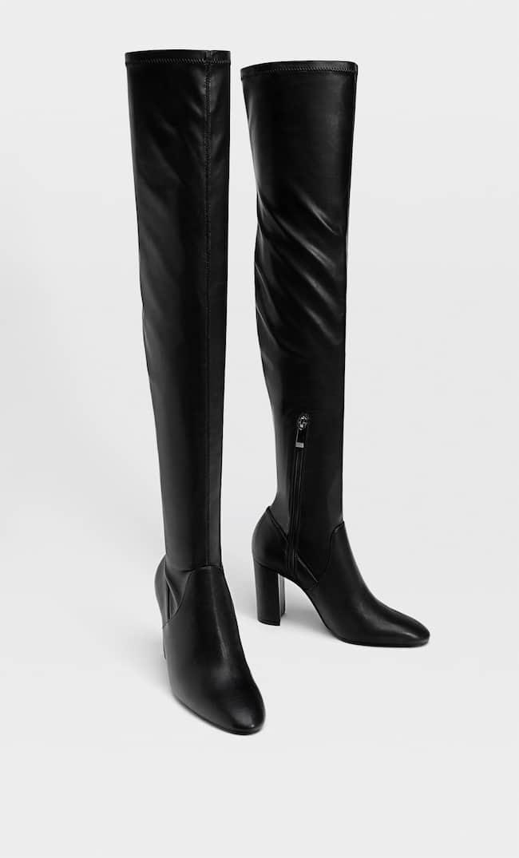 Ботфорты Облегающего Кроя На Каблуке Женская Коллекция Черный 38