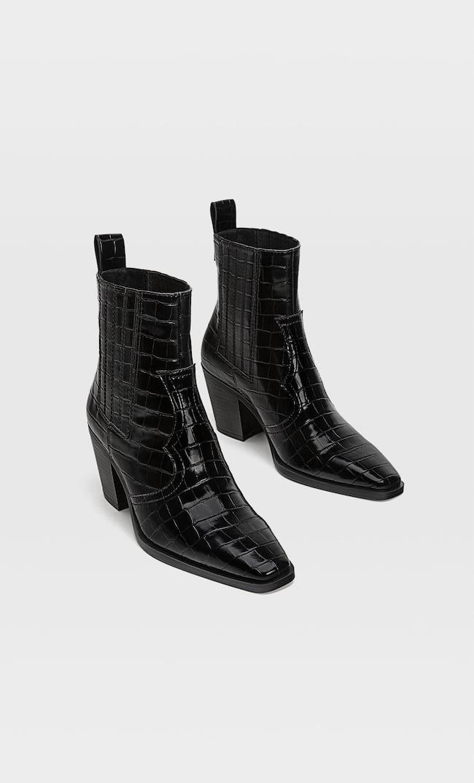Ботильоны В Стиле Кантри С Тиснением Женская Коллекция Черный 36