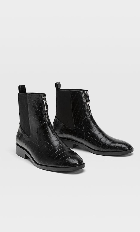 Ботинки На Плоской Подошве С Молнией Женская Коллекция Черный 38