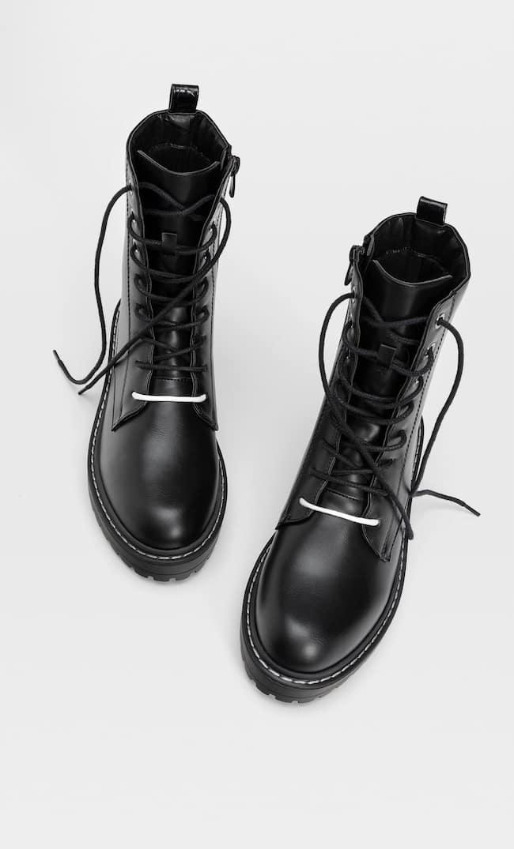 Ботинки На Низком Каблуке С Двойной Шнуровкой Женская Коллекция Черный 35