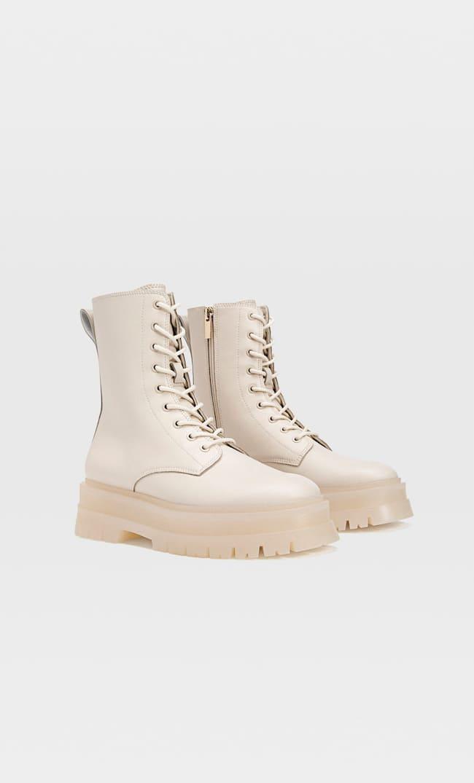 Ботинки На Плоской Подошве Со Шнуровкой Женская Коллекция Белый 41