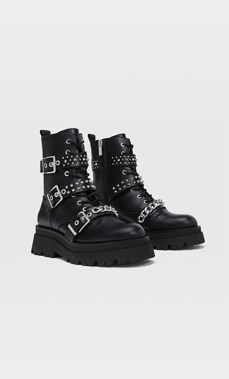 Ботинки С Шипами, Шнуровкой И Рифленой Подошвой Женская Коллекция Черный 40