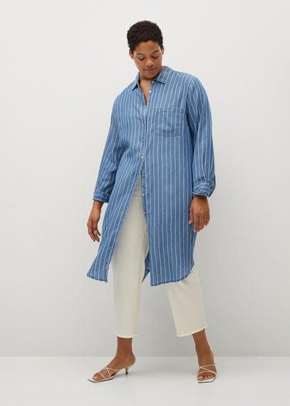Длинная рубашка из лиоцелла - Stripes