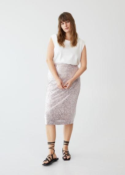 Миди-юбка с пайетками - Brilli